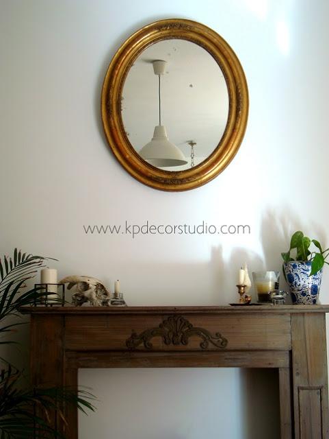 Espejo antiguo dorado isabelino for Espejo dorado