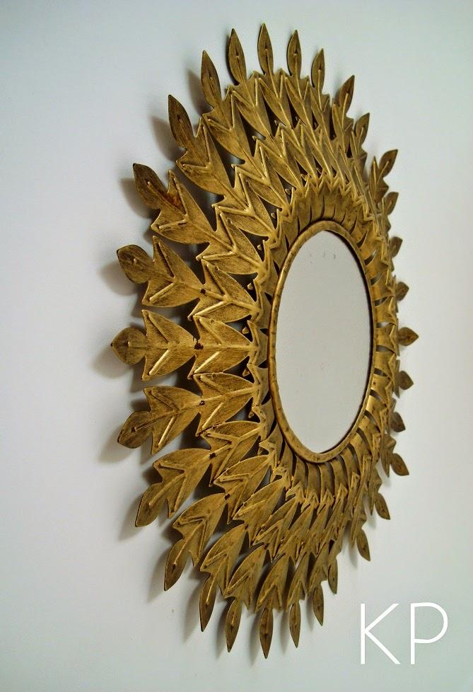 Espejo sol dorado vintage for Espejos decorativos dorados
