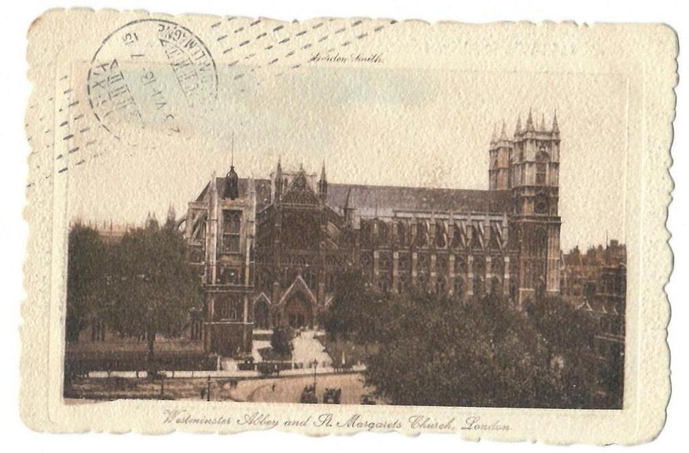 Antigua postal de Londres, circulada en 1913: Westminster Abbey and St. Margarets Church
