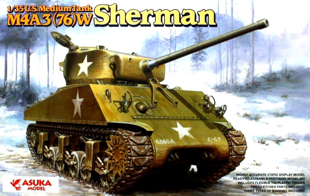 ASUKA MODEL 35019 U.S. Medium Tank M4A3(76)W Sherman