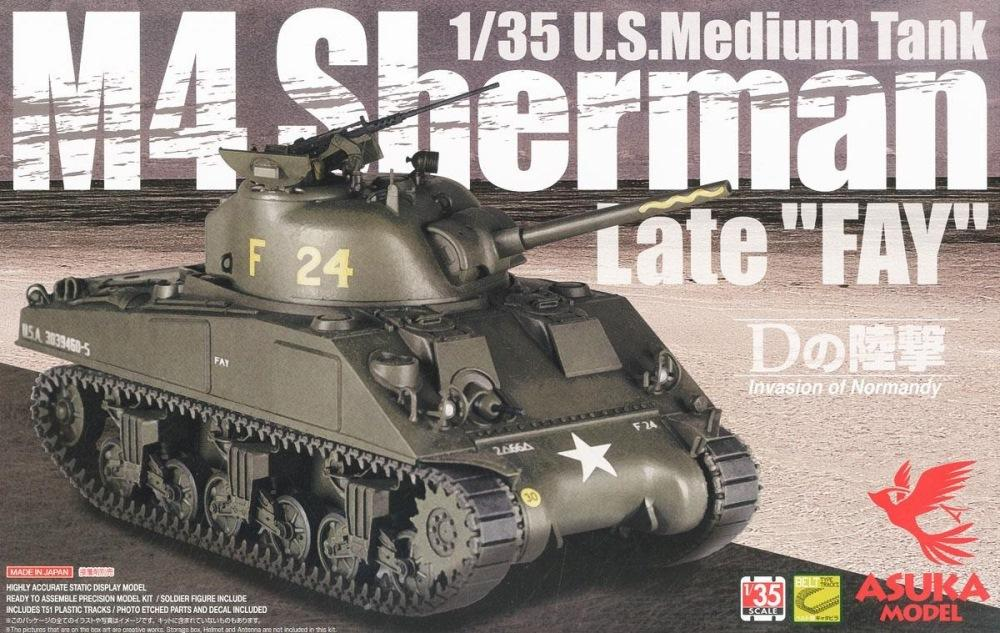 ASUKA MODEL 35032 U.S. Medium Tank M4 Sherman Late 'FAY'