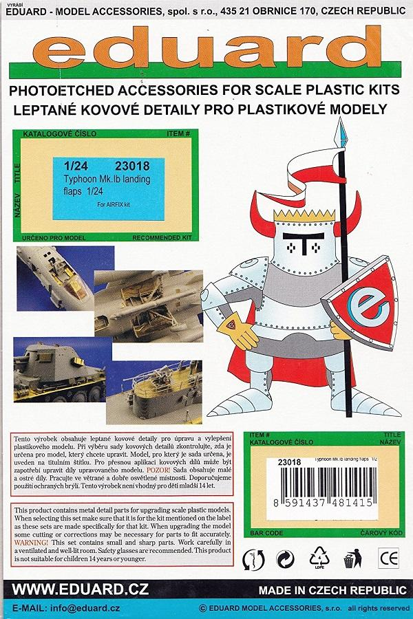 EDUARD 23018 Set for Typhoon Mk.Ib Landing Flaps (Airfix)