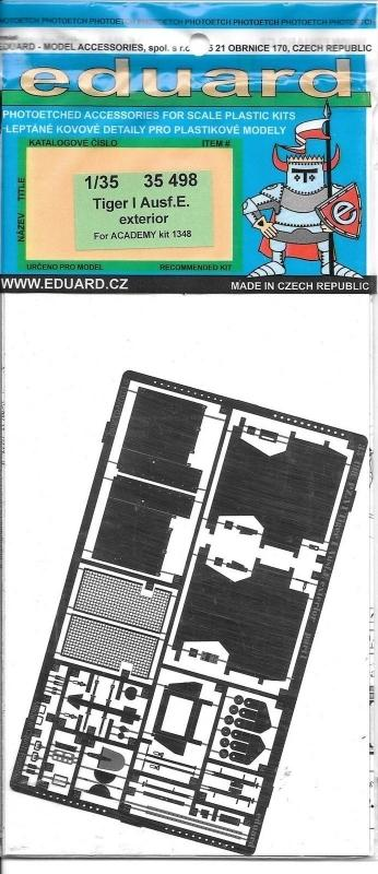 EDUARD 35498 Set for Tiger I Ausf.E Exterior (Academy)
