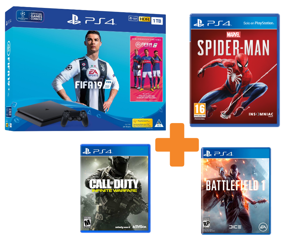 SONY Playstation 4 Slim 1TB + FIFA 19 + Spider-man + Battlefield 1 + Call of Duty: Infinite Warfare