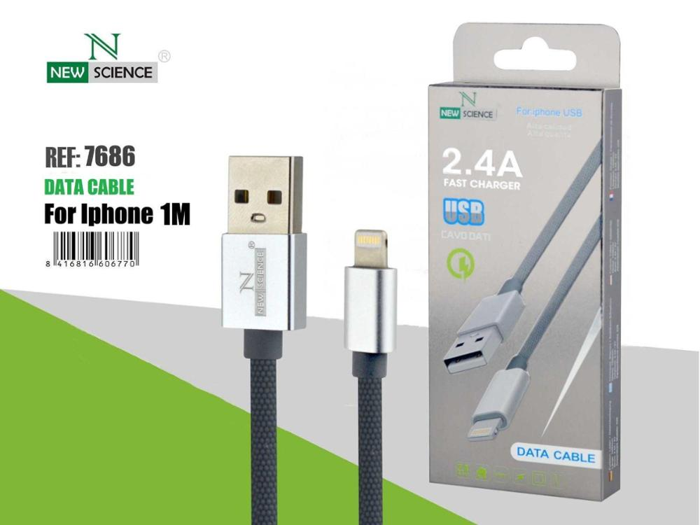 NEW SCIENCE CABLE USB LIGHTNING 2.4A - GRIS