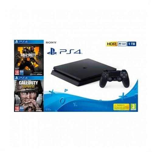 SONY PS4 PlayStation4 Slim 1TB + CoD OPS IIII + CoD WWII