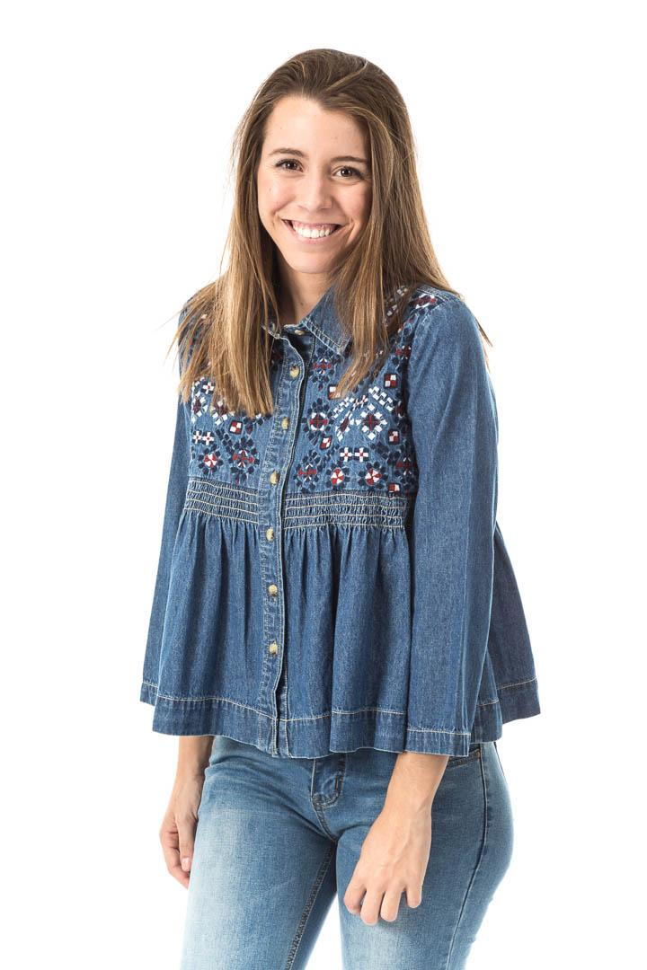 CAMISA DENIM BORDADA BABYDOLL
