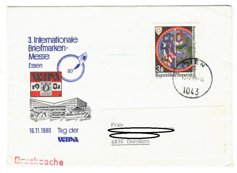 Sobre Austria 1981, exposiciones - 3 Internationale Briefmarken-Messe Essen - Wipa