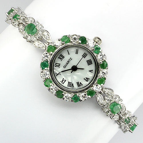GEMSINOR Jewelry&Gems - LUXURY! NATURAL GEM TOP RICH GREEN COLOMBIAN EMERALD & AAA W CZ 14K WHITE GOLD COATING 925 SILVER WATCH