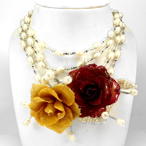 VERY RARE! REAL 64mm BLOOMED ROSE PRESERVED IN RESIN, PEARL BEAD NECKLACE 76 Ins.