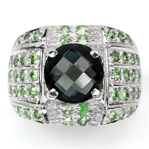 LUXURY NATURAL LONDON BLUE TOPAZ & TSAVORITE GARNET(NATURAL) 14K WHITE GOLD COATING STERLING 925 SILVER RING 8.5