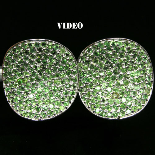 SEDUCTIVE! NATURAL! GREEN TSAVORITE GARNET 925 SILVER EARRINGS WHITE GOLD PLATED