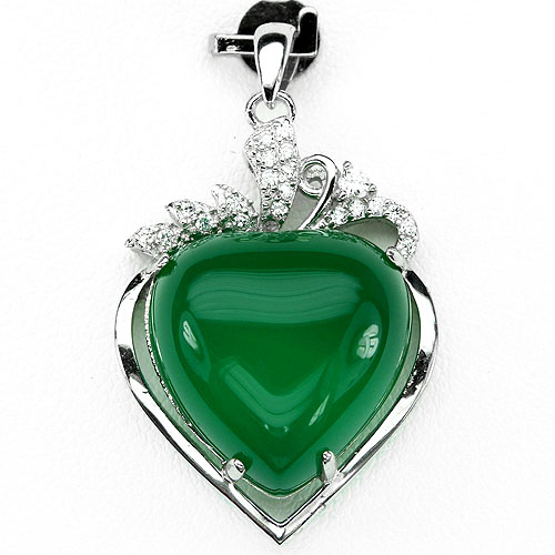 GEMSINOR Jewelry&Gems - ALLURING! NATURAL HEART 16mm RICH GREEN AVENTURINE-WHITE CZ 925 SILVER PENDANT