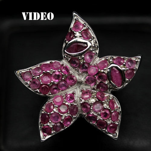 GEMSINOR Jewelry&Gems - OUTSTANDING! NATURAL! PINK RUBY 925 SILVER RING WHITE GOLD PLATED SIZE 6.5