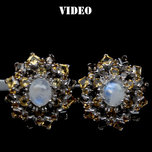 GEMSINOR Jewelry&Gems - ADORABLE! NATURAL! FANCY COLOR MOONSTONE, QUARTZ & CITRINE 925 SILVER EARRINGS