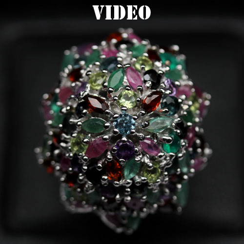 GEMSINOR Jewelry&Gems - GLEAMING! NATURAL! FANCY COLOR AMETHYST, AGATE, RUBY, PERIDOT, TOPAZ, SAPPHIRE, EMERALD & GARNET 925 SILVER RING WHITE GOLD PLATED SIZE 6.75