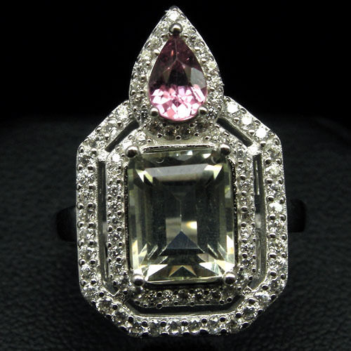 GEMSINOR Jewelry&Gems - INVITING! NATURAL! AMETHYST, RHODOLITE GARNET & CZ 925 SILVER RING WHITE GOLD PLATED SZ 6.75