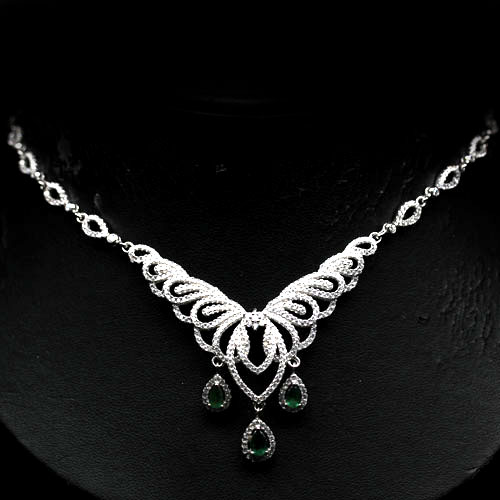GEMSINOR Jewelry&Gems - VERY GOOD! NATURAL! GREEN EMERALD & WHITE CZ 925 SILVER NECKLACE - PENDANT WHITE GOLD PLATED