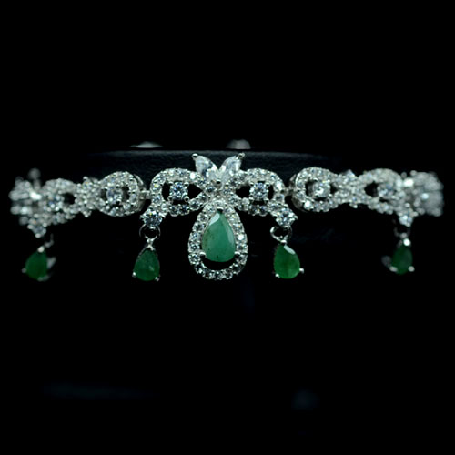 GEMSINOR Jewelry&Gems - DELIGHTFUL! NATURAL! GREEN EMERALD & WHITE CZ 925 SILVER BRACELET WHITE GP