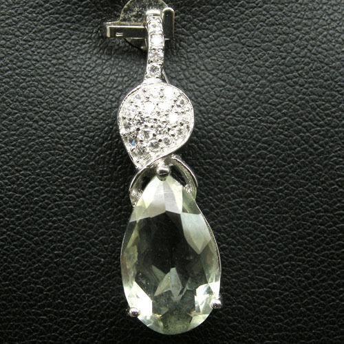 GEMSINOR Jewelry&Gems - WONDERFUL! NATURAL! GREEN AMETHYST & WHITE CZ 925 SILVER PENDANT WHITE GP