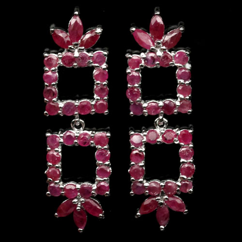 GEMSINOR Jewelry&Gems - AMAZING! NATURAL! PINK RUBY 925 SILVER EARRINGS WHITE GOLD PLATED