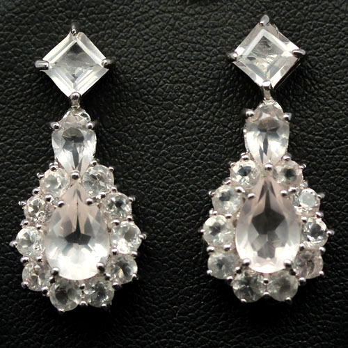 WONDERFUL! NATURAL! PINK QUARTZ 925 SILVER EARRINGS WHITE GOLD PLATED
