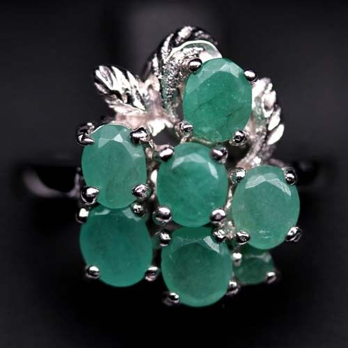 GEMSINOR Jewelry&Gems - REMARKABLE! NATURAL! GREEN EMERALD 925 SILVER RING WHITE GOLD PLATED SIZE 6.5