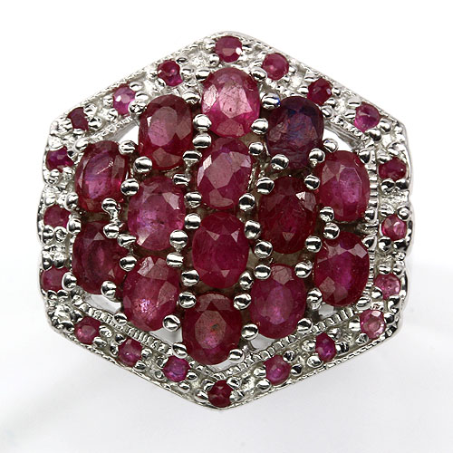 GEMSINOR Jewelry&Gems - ELEGANT! NATURAL OVAL CUT TOP RICH RED PINK RUBY STERLING 925 SILVER RING SIZE 8