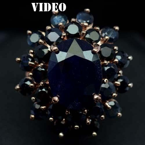 GEMSINOR Jewelry&Gems - MAJESTIC! NATURAL! DEEP BLUE SAPPHIRE 925 SILVER RING ROSE GOLD COATING SIZE6.5