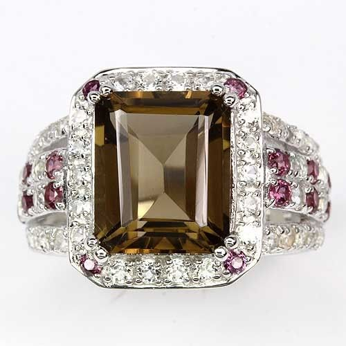 GEMSINOR Jewelry&Gems - DELUXE NATURAL 12x10mm.SMOKY QUARTZ-RHODOLITE GARNET-WHITE TOPAZ 925 SILVER RING 9.5