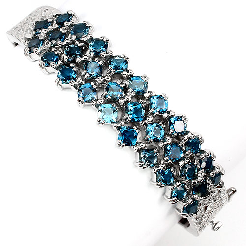 GEMSINOR Jewelry&Gems - BIG RARE CUSHION 4mm LONDON BLUE TOPAZ-WHITE TOPAZ STERLING 925 SILVER BANGLE NR