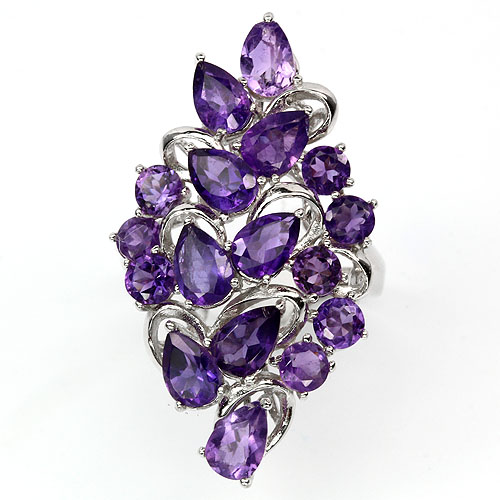 GEMSINOR Jewelry&Gems - BEAUTEOUS! NATURAL GEM TOP INTENSE PURPLE AMETHYST STERLING 925 SILVER RING Sz 6