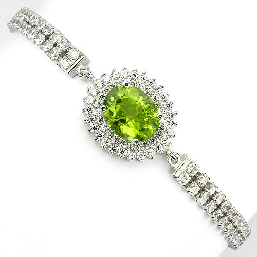 GEMSINOR Jewelry&Gems - PRECIOUS NATURAL OVAL 10x8mm TOP RICH GREEN PERIDOT-WHITE CZ 925 SILVER BRACELET
