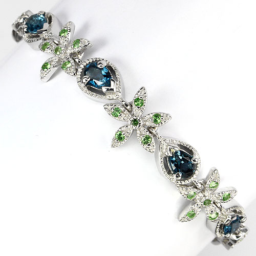 GEMSINOR Jewelry&Gems - GLORIOUS! NATURAL LONDON BLUE TOPAZ-TSAVORITE GANNET 925 SILVER FLORAL BRACELET