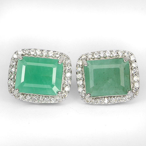 RARE! NATURAL GEM OCTAGON 10x8mm.GREEN EMERALD-CZ STERLING 925 SILVER EARRINGS