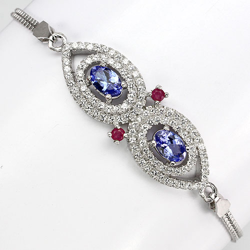 GEMSINOR Jewelry&Gems - REAL 6x4mm. RICH BLUE TANZANITE,RED RUBY,14K WHITE GOLD PLATED CZ STERLING 925 SILVER BRACELET