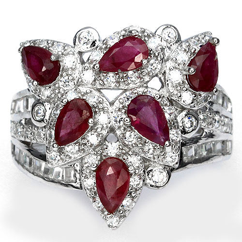 GEMSINOR Jewelry&Gems - GORGEOUS NATURAL GEM TOP RICH RED PINK RUBY-W CZ STERLING 925 SILVER RING SIZE 7