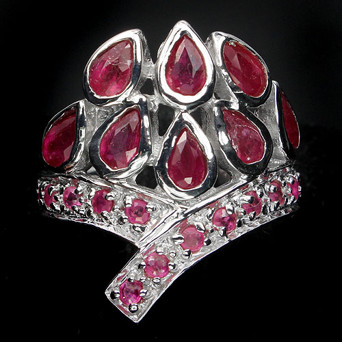 GEMSINOR Jewelry&Gems - ALLURING NATURAL GEM TOP RICH RED PINK RUBY STERLING 925 SILVER RING SIZE 8# NR!
