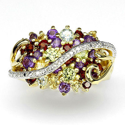 GEMSINOR Jewelry&Gems - LUXURY REAL AMETHYST, GARNET, PERIDOT, CITRINE, TOPAZ,1p DIAMOND 925 SILVER RING 8#