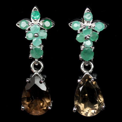 GEMSINOR Jewelry&Gems - EXCELLENT! NATURAL! SMOKY QUARTZ & GREEN EMERALD 925 SILVER EARRINGS