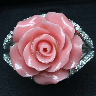 GEMSINOR Jewelry&Gems - SPLENDID! PINK ROSE POWDER CARVING & WHITE CZ 925 SILVER RING WHITE GP SIZE 6.5