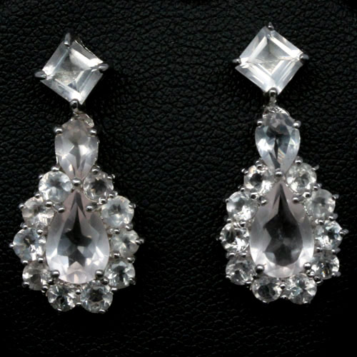 GEMSINOR Jewelry&Gems - SEDUCTIVE! NATURAL! PINK QUARTZ 925 SILVER EARRINGS WHITE GOLD PLATED