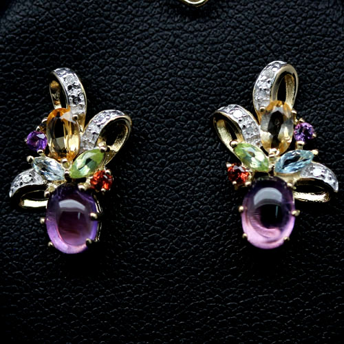 GEMSINOR Jewelry&Gems - ULTIMATE! NATURAL! AMETHYST, CITRINE, TOPAZ, PERIDOT,...925 SILVER EARRINGS
