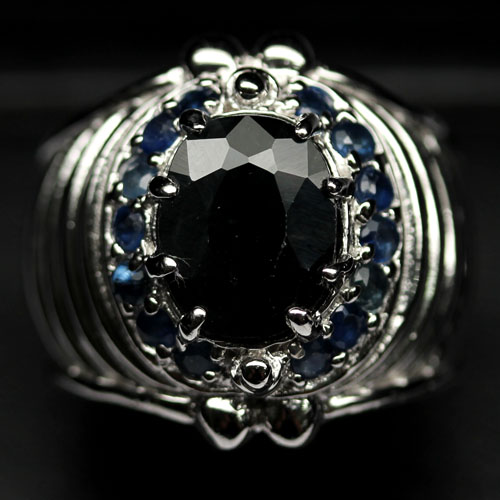 GEMSINOR Jewelry&Gems - ALLURING! NATURAL! DEEP BLUE SAPPHIRE 925 SILVER RING SIZE 9.75
