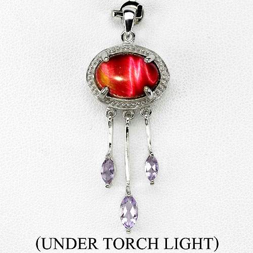 GEMSINOR Jewelry&Gems - ELEGANT! OVAL 14x10mm. RED TIGER EYE-PURPLE AMETHYST 14K WHITE GOLD COATING STERLING 925 SILVER PENDANT