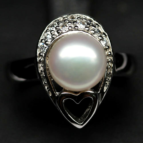 GEMSINOR Jewelry&Gems - EXCEPTIONAL! NATURAL! WHITE FRESH WATER PEARL & CZ 925 SILVER RING SIZE 6