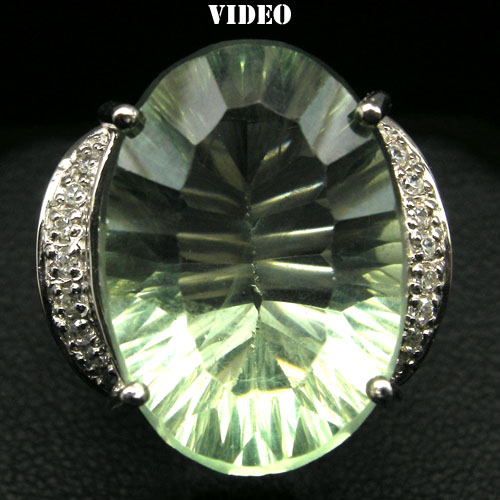 GEMSINOR Jewelry&Gems - REFULGENT! NATURAL! GREEN FLUORITE & WHITE CZ 925 SILVER RING WHITE GP SZ 6.75
