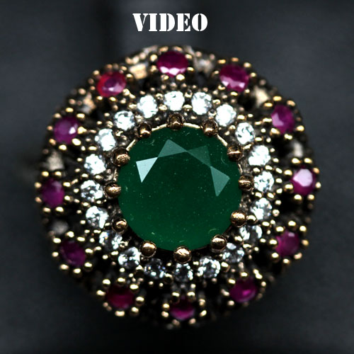 GEMSINOR Jewelry&Gems - MAJESTIC! NATURAL! GREEN, PINK AGATE & WHITE CZ 925 SILVER - BRASS RING SIZE 7