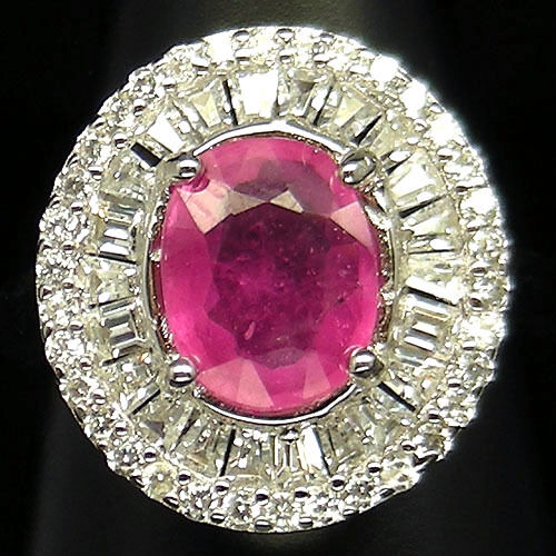 GEMSINOR Jewelry&Gems - INVITING! NATURAL! PINK RUBY & WHITE CZ 925 SILVER RING WHITE GOLD PLATED