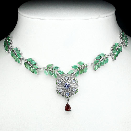 VERY RARE! NATURAL RUBY-EMERALD-TANZANITE-TSAVORITE GARNET 925 SILVER NECKLACE